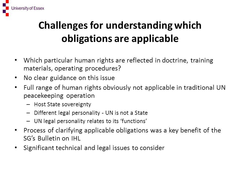 Challenges for understanding which obligations are applicable