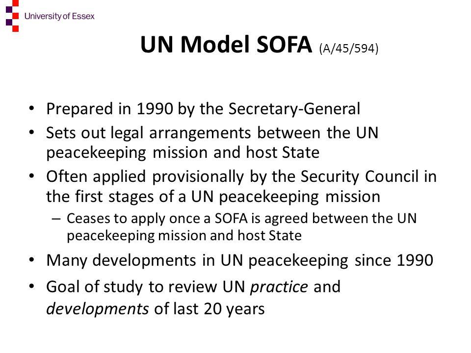 UN Model SOFA (A/45/594) Prepared in 1990 by the Secretary-General