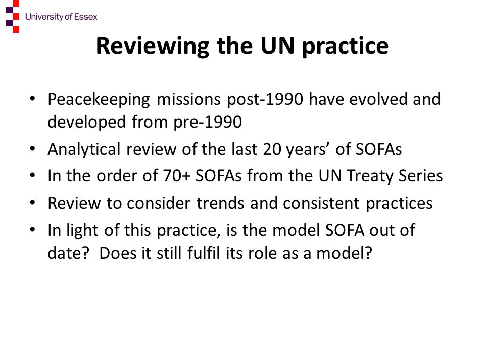 Reviewing the UN practice