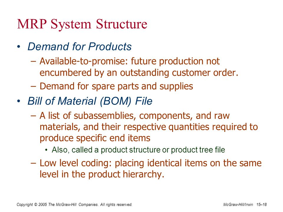 MRP System Structure Demand for Products Bill of Material (BOM) File