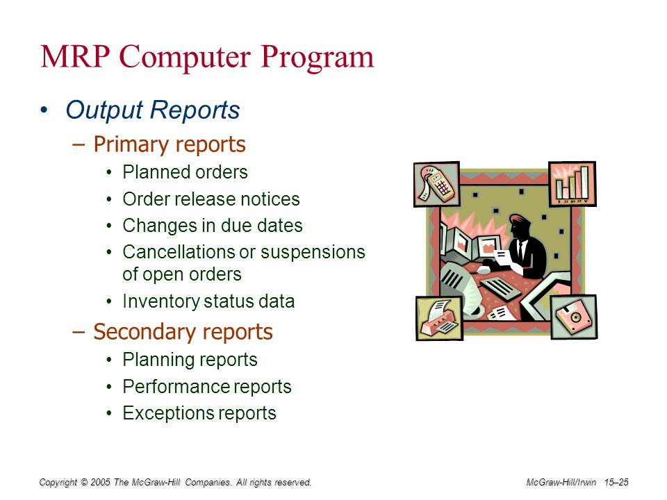 MRP Computer Program Output Reports Primary reports Secondary reports