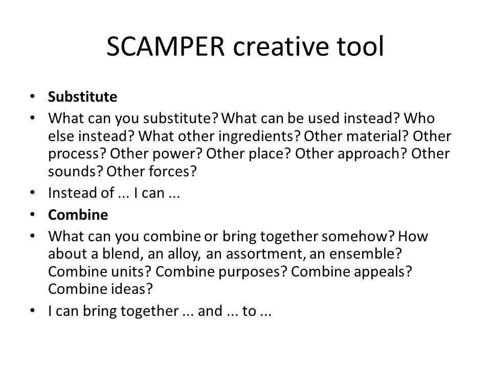 SCAMPER creative tool Substitute