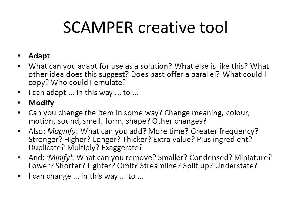 SCAMPER creative tool Adapt
