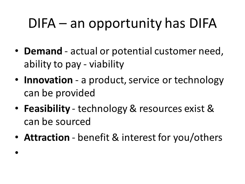 DIFA – an opportunity has DIFA