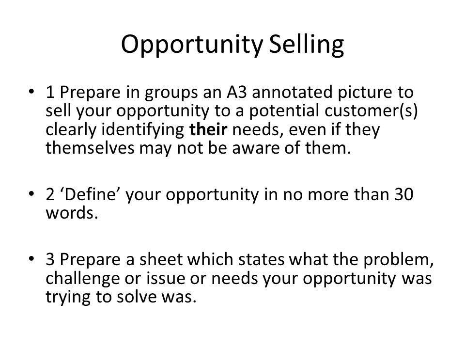 Opportunity Selling