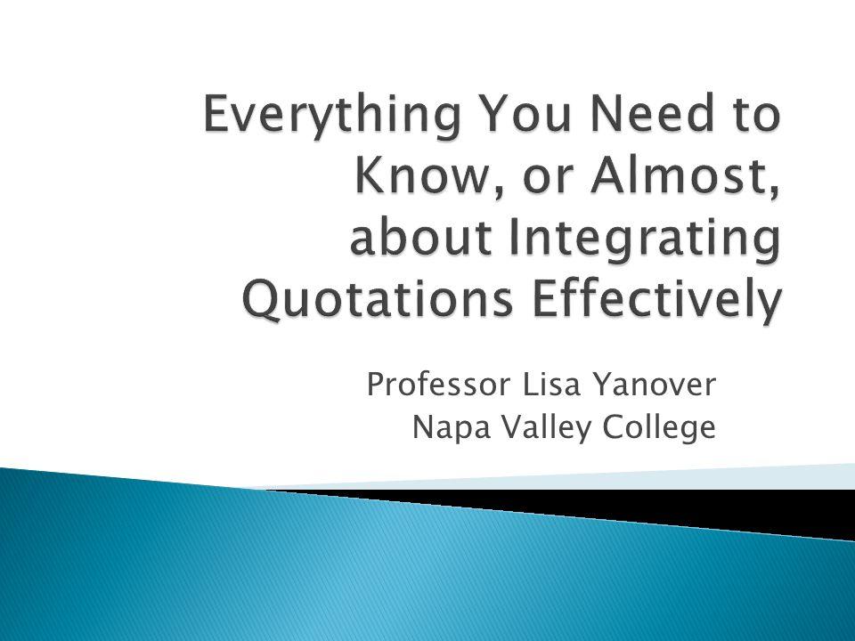 Professor Lisa Yanover Napa Valley College