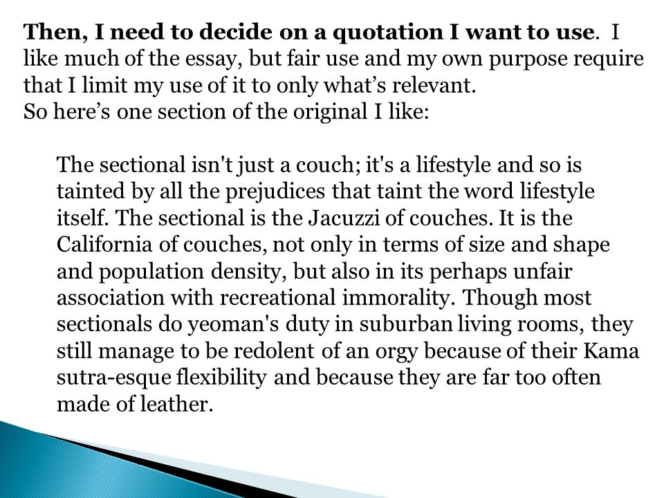 Then, I need to decide on a quotation I want to use