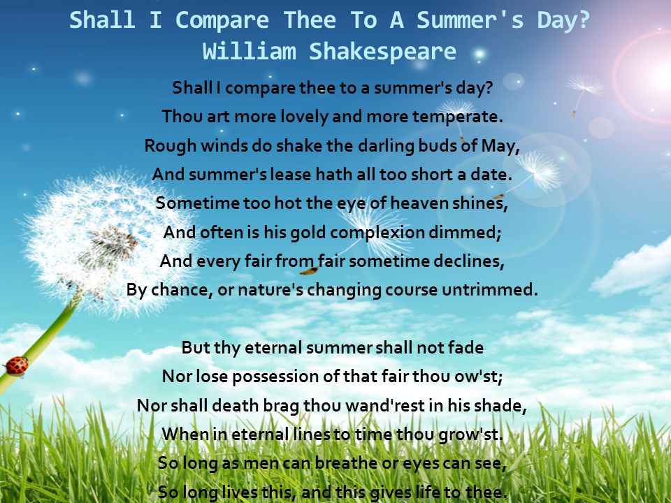 Shall I Compare Thee To A Summer s Day William Shakespeare