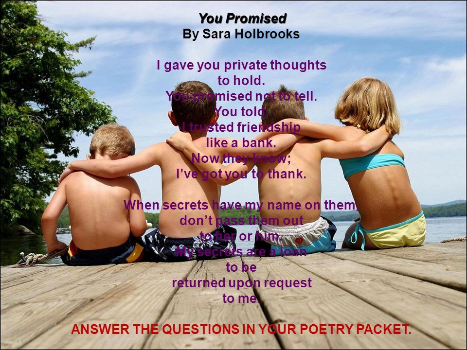 ANSWER THE QUESTIONS IN YOUR POETRY PACKET.