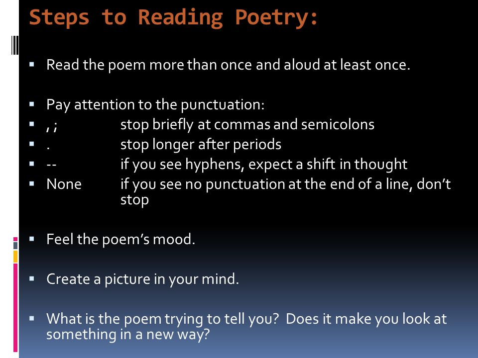 Steps to Reading Poetry: