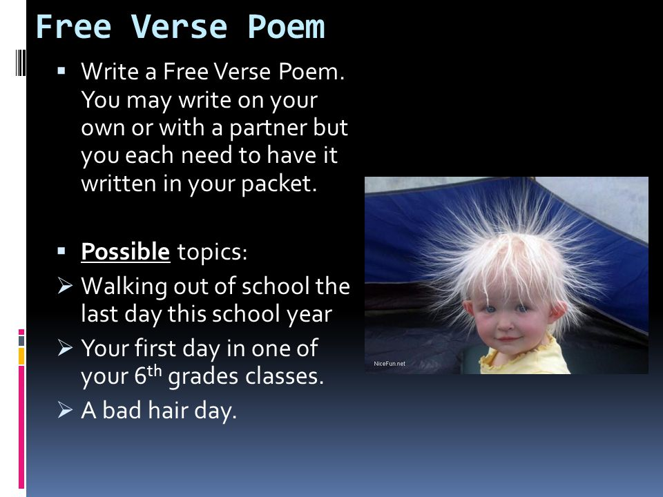 Free Verse Poem Write a Free Verse Poem. You may write on your own or with a partner but you each need to have it written in your packet.