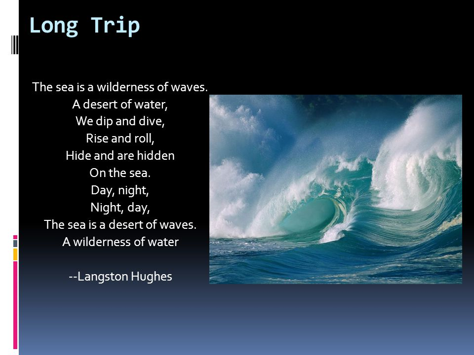 Long Trip The sea is a wilderness of waves. A desert of water,