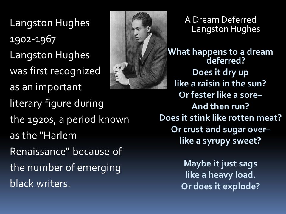 Langston Hughes 1902-1967 was first recognized as an important literary figure during the 1920s, a period known as the Harlem Renaissance because of the number of emerging black writers.