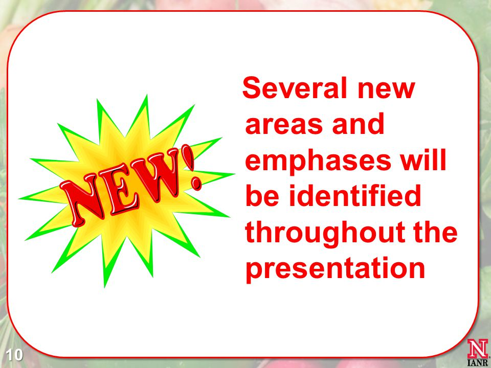 Several new areas and emphases will be identified throughout the presentation