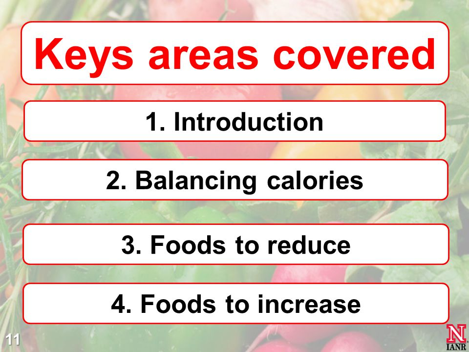 Keys areas covered 1. Introduction 2. Balancing calories