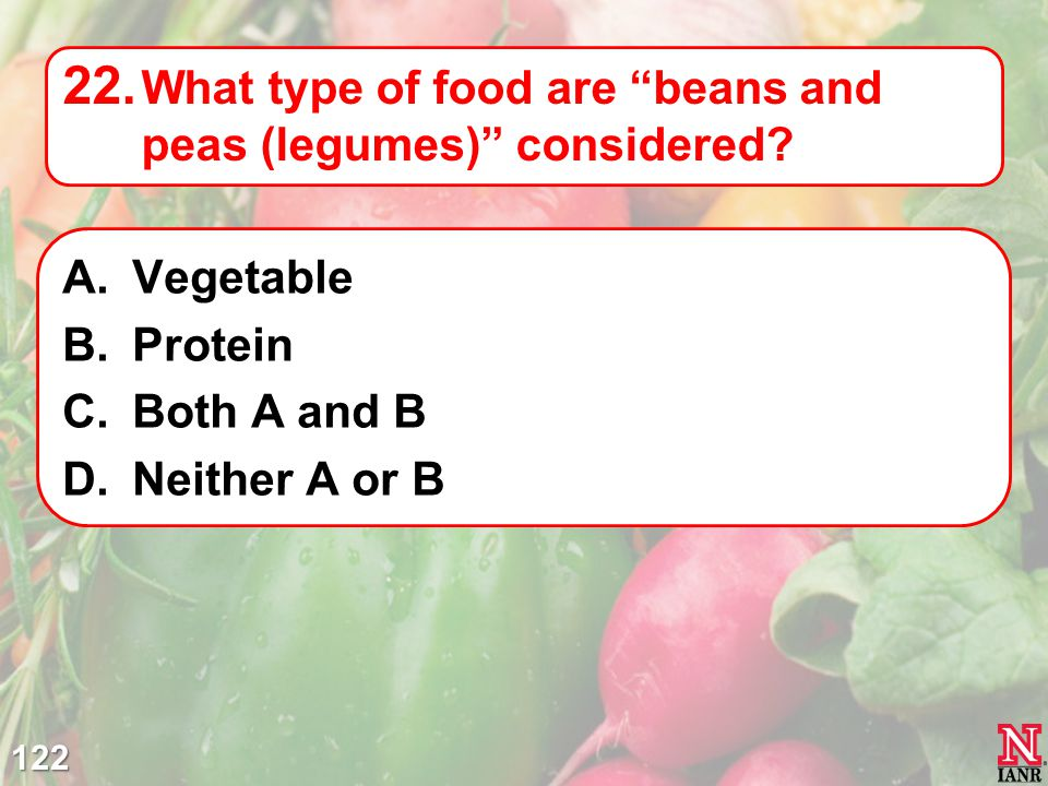 What type of food are beans and peas (legumes) considered