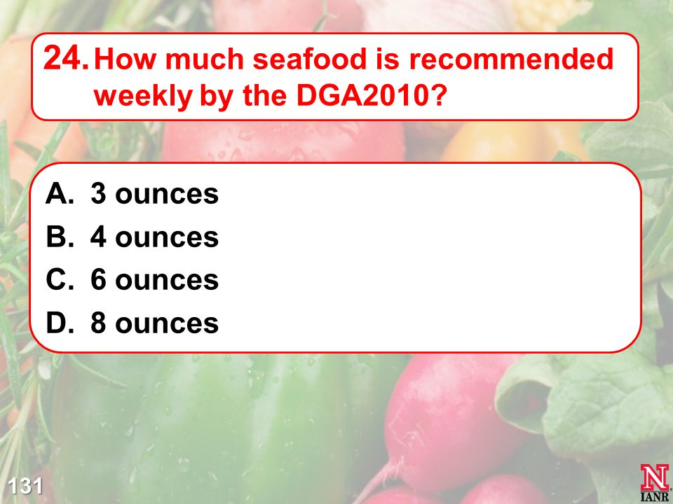 How much seafood is recommended weekly by the DGA2010