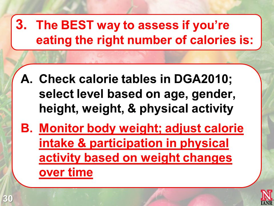 The BEST way to assess if you're eating the right number of calories is: