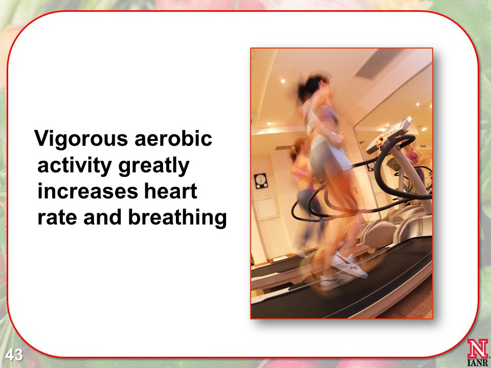 Vigorous aerobic activity greatly increases heart rate and breathing