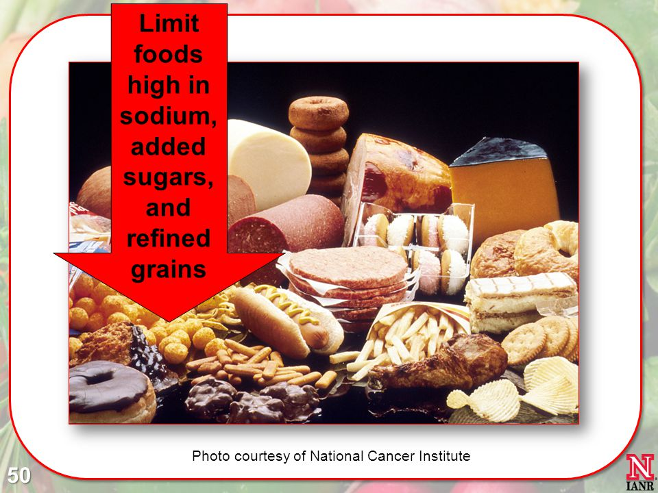 Limit foods high in sodium, added sugars, and refined grains