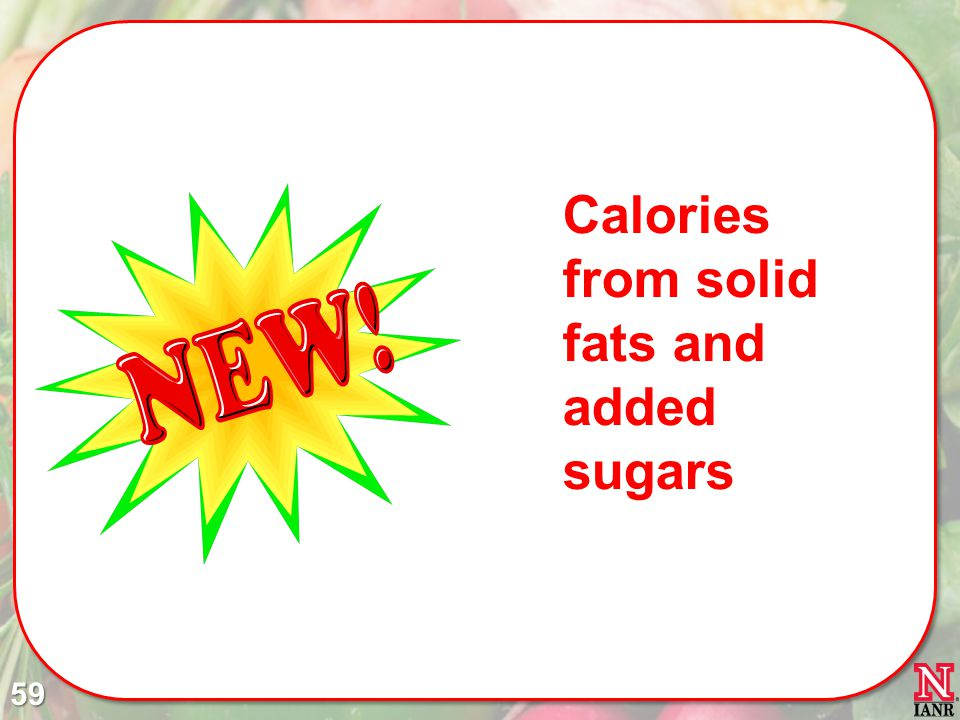 Calories from solid fats and added sugars