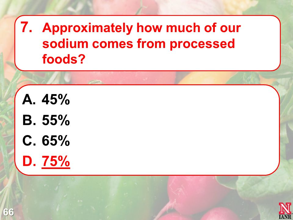 Approximately how much of our sodium comes from processed foods