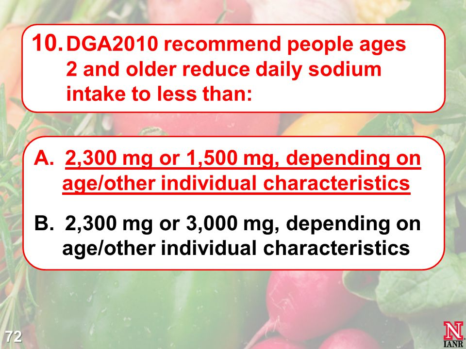 DGA2010 recommend people ages 2 and older reduce daily sodium intake to less than: