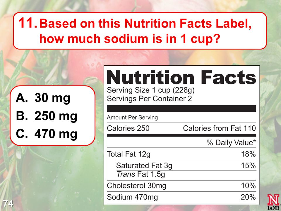 Based on this Nutrition Facts Label, how much sodium is in 1 cup