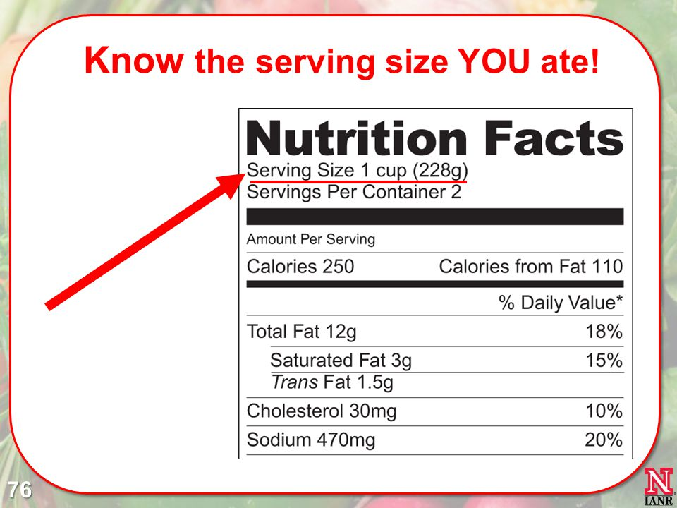 Know the serving size YOU ate!