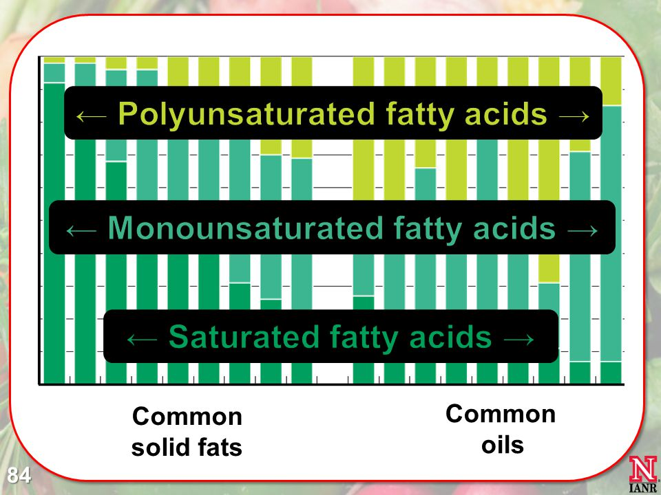 ← Saturated fatty acids → ← Polyunsaturated fatty acids →