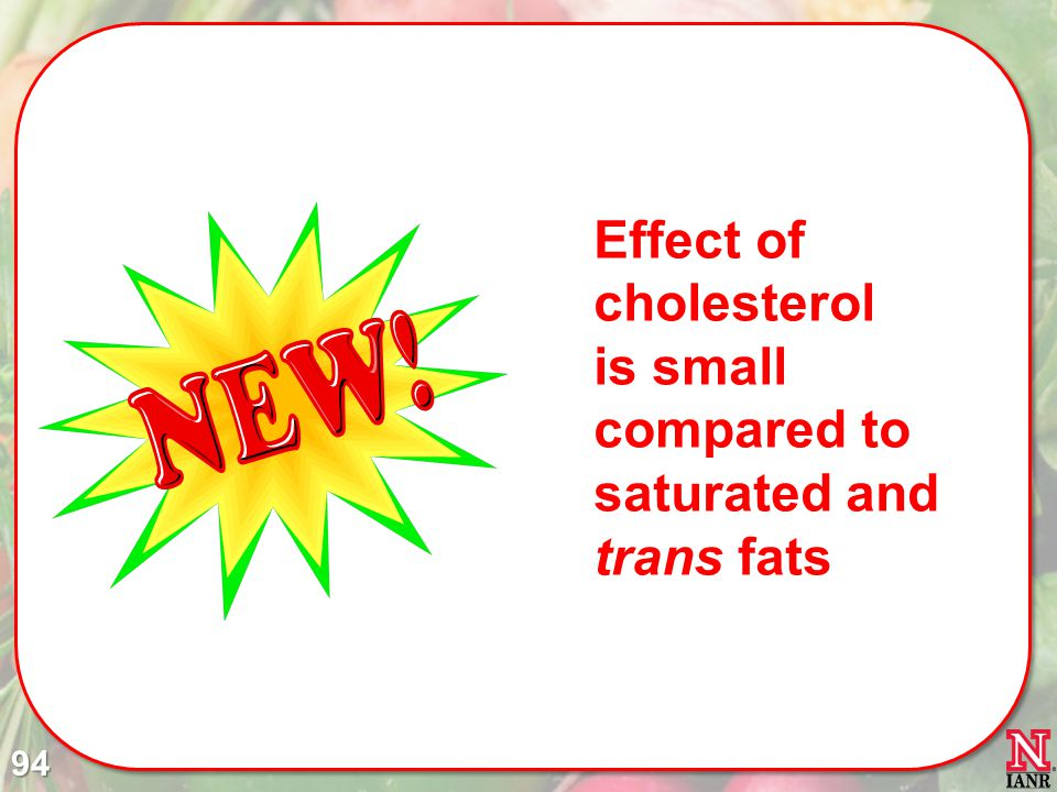Effect of cholesterol is small compared to saturated and trans fats