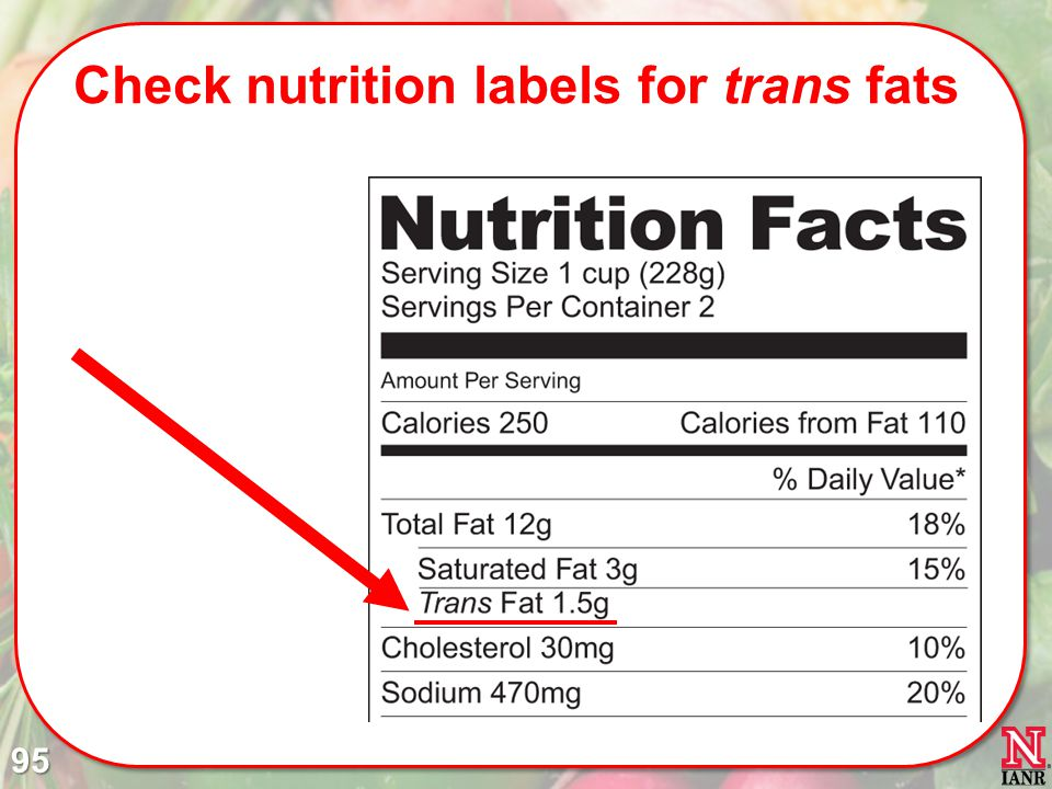 Check nutrition labels for trans fats