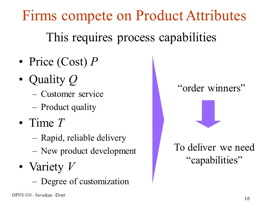 Firms compete on Product Attributes