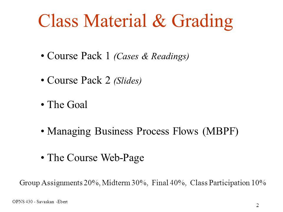 Class Material & Grading