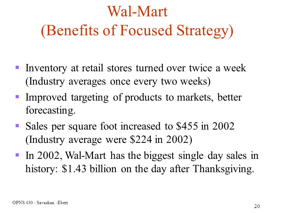 (Benefits of Focused Strategy)