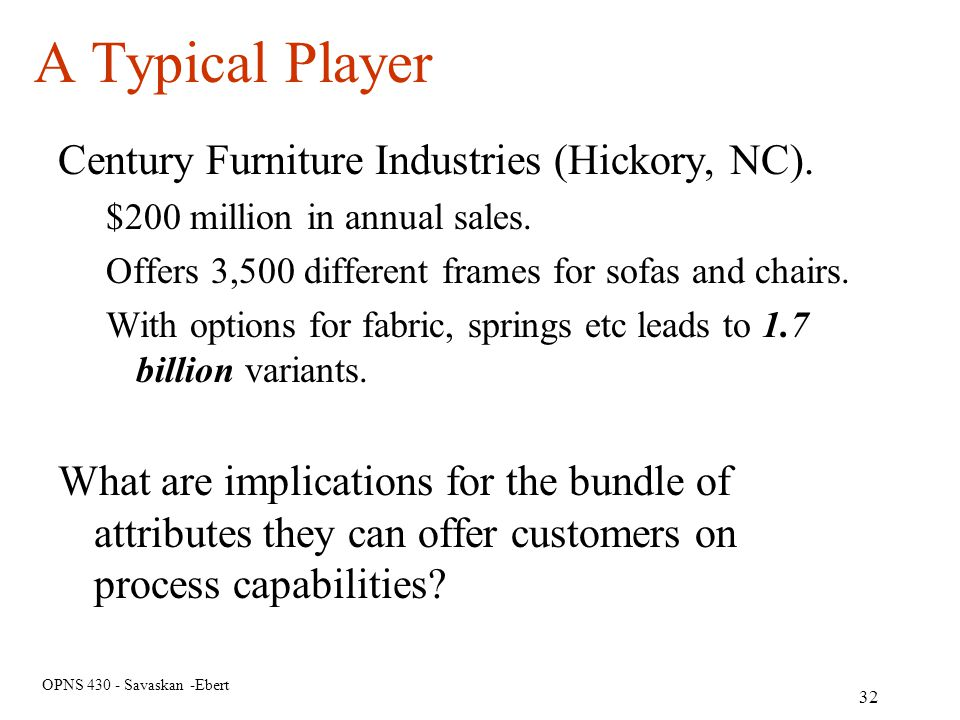 A Typical Player Century Furniture Industries (Hickory, NC).