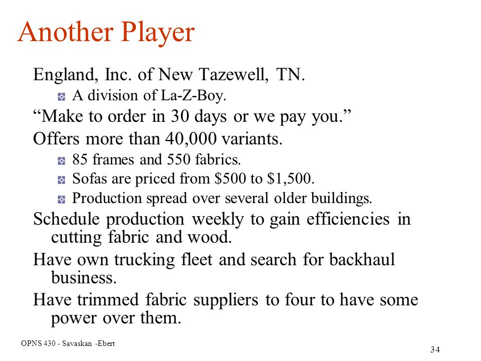 Another Player England, Inc. of New Tazewell, TN.