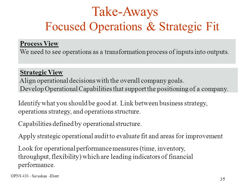 Take-Aways Focused Operations & Strategic Fit Process View