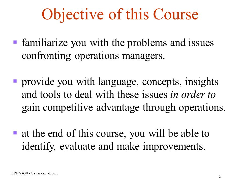 Objective of this Course