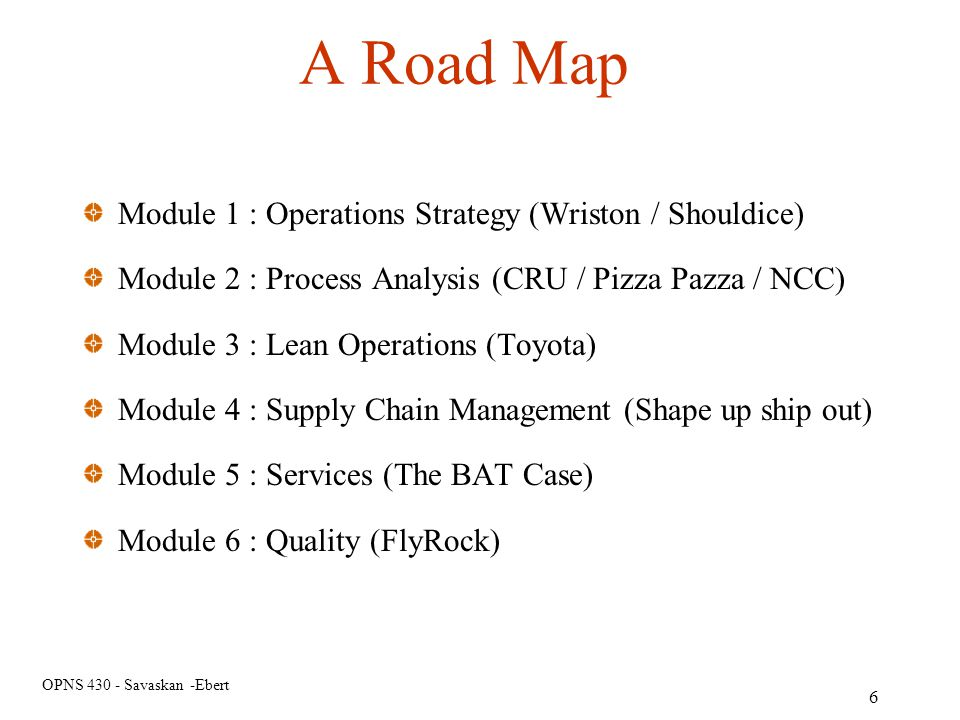 A Road Map Module 1 : Operations Strategy (Wriston / Shouldice)