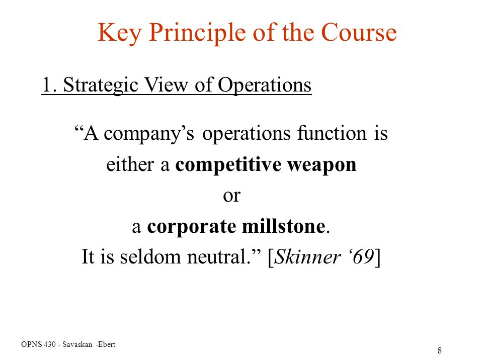 Key Principle of the Course