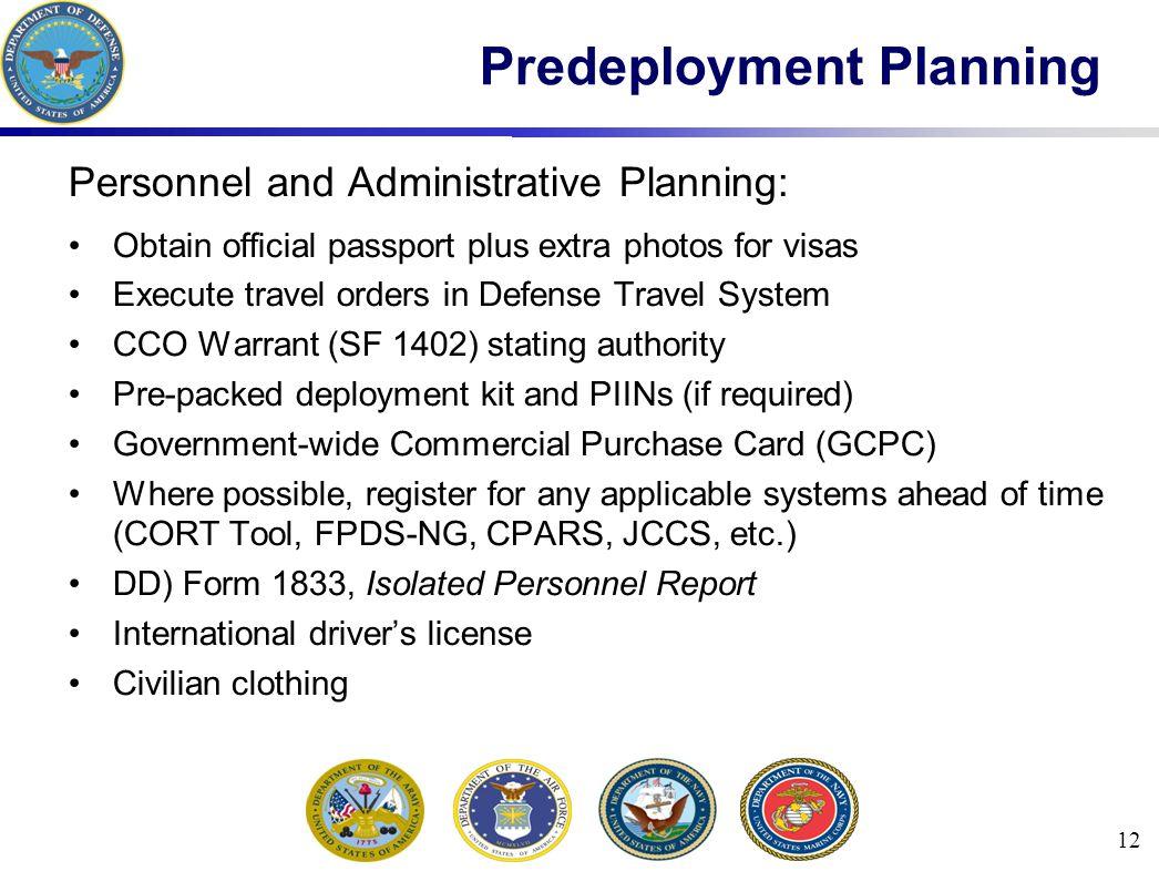 Predeployment Planning