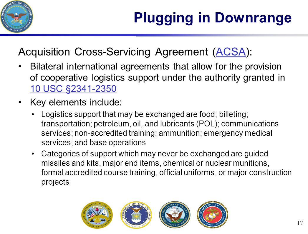 Plugging in Downrange Acquisition Cross-Servicing Agreement (ACSA):