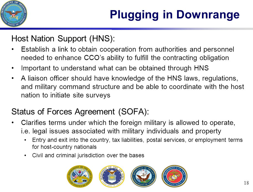 Plugging in Downrange Host Nation Support (HNS):