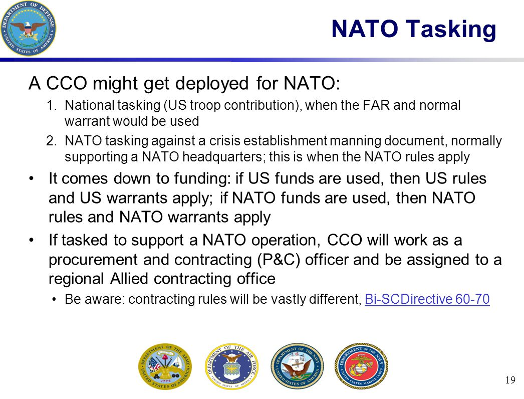 NATO Tasking A CCO might get deployed for NATO: