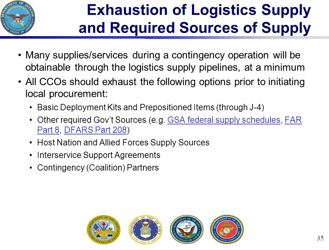 Exhaustion of Logistics Supply and Required Sources of Supply
