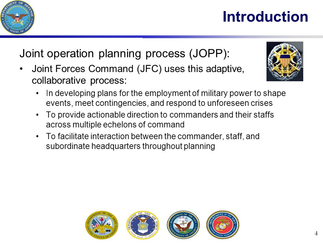 Introduction Joint operation planning process (JOPP):