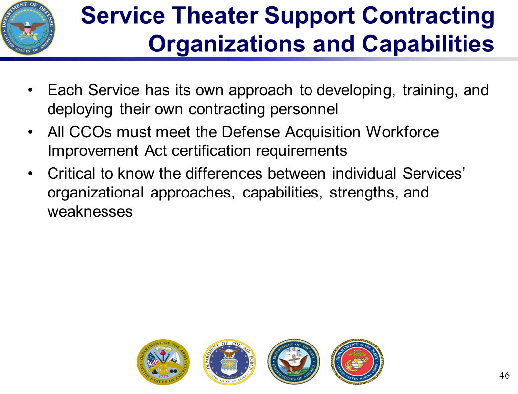 Service Theater Support Contracting Organizations and Capabilities