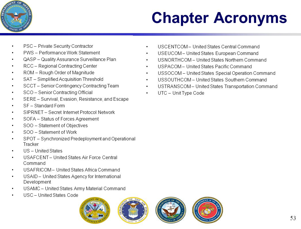 Chapter Acronyms PSC – Private Security Contractor