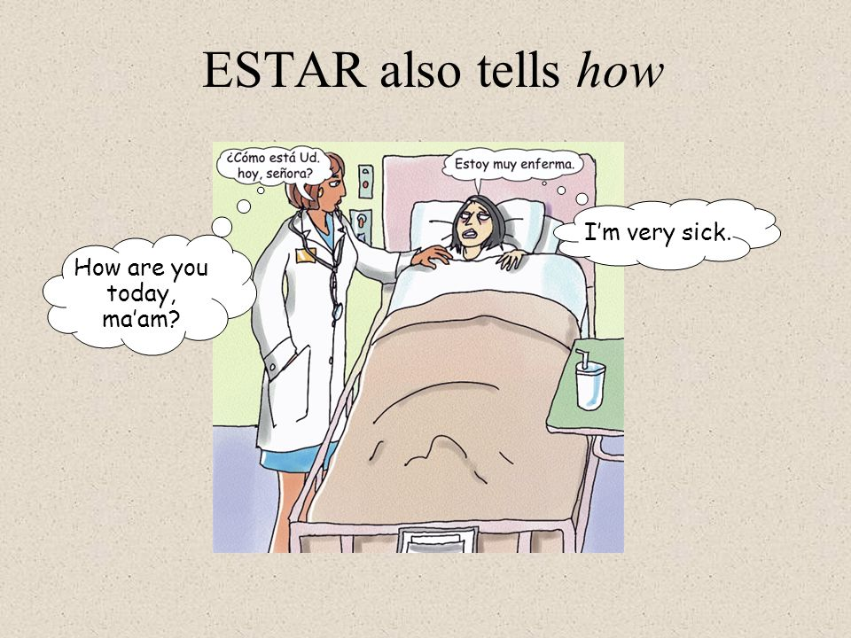 ESTAR also tells how I'm very sick. How are you today, ma'am